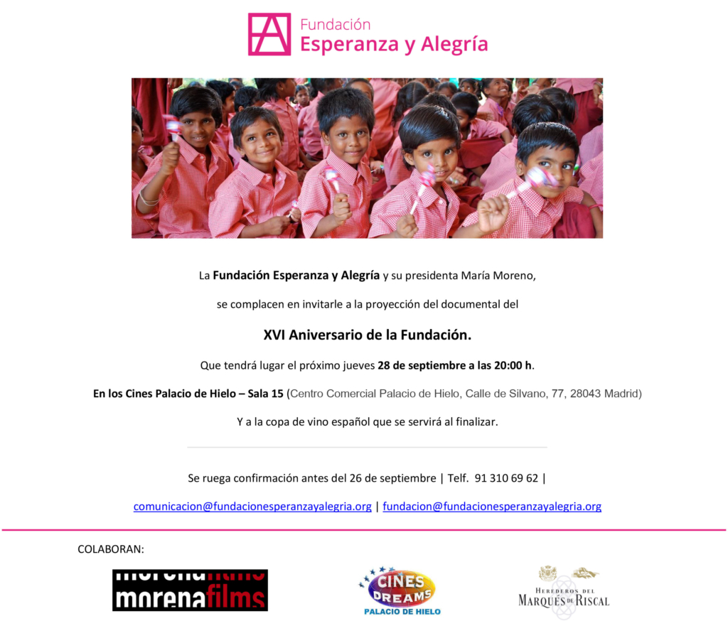 XVI Aniversario Fundación Esperanza y Alegría