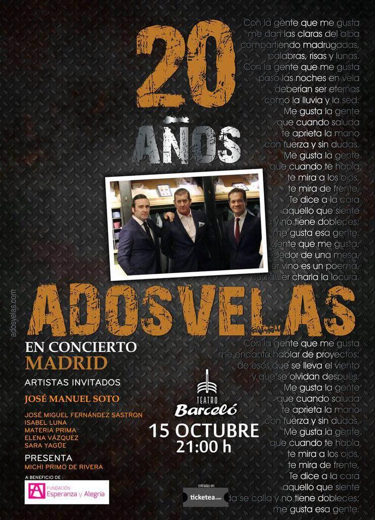 """Concierto de """"A DOS VELAS"""" el 15 de Octubre"""
